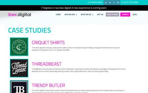Screenshot of Case Studies Page ibex.digital - Case Studies - ibex.digital - captured July 8, 2018