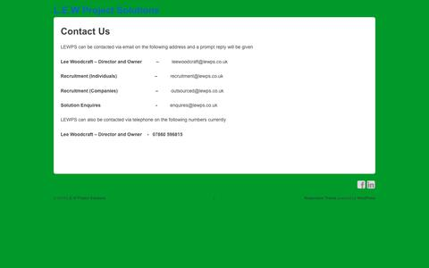 Screenshot of Contact Page lewps.co.uk - Contact Us | L.E.W Project Solutions - captured Sept. 25, 2018