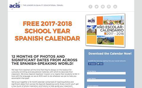 Screenshot of Landing Page acis.com - 2017-2018 Spanish Cultural Calendar - captured Sept. 13, 2017