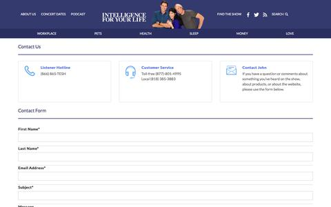 Screenshot of Contact Page tesh.com - Intelligence For Your Life - captured May 19, 2018