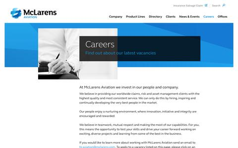 Screenshot of Jobs Page mclarensaviation.com - Aviation jobs and careers at McLarens Aviation | McLarens Aviation - captured Sept. 30, 2014
