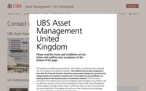 Screenshot of Contact Page ubs.com - Contact for Institutional Investors | UBS United Kingdom - captured Nov. 14, 2019