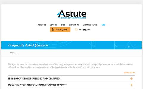 Screenshot of FAQ Page astutetm.com - Frequently Asked Questions | Astute Technology Management - Columbus Ohio IT Support - captured July 6, 2018