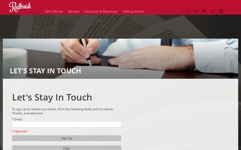 Screenshot of Signup Page redbrush.com - Redbrush : Let's Stay In Touch - captured Feb. 26, 2016
