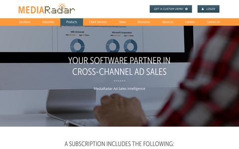 Screenshot of Products Page mediaradar.com - Our Products | MediaRadar - captured Feb. 20, 2017