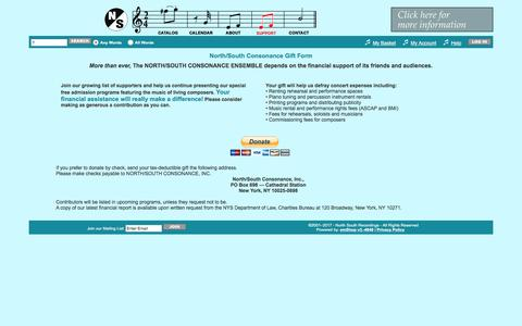 Screenshot of Signup Page Support Page northsouthmusic.org - North South Recordings: Contact Information - captured March 31, 2017