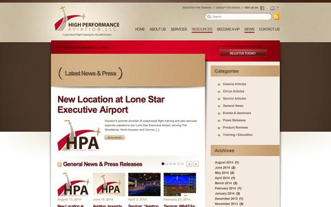 Screenshot of Press Page flyhpa.com - HPA News // High Performance Aviation, LLC - captured Oct. 3, 2014
