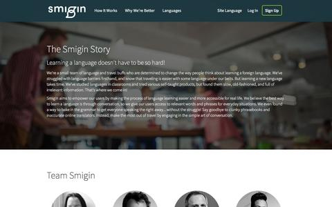 Screenshot of About Page smigin.com - About Us – Smigin: All the language you need - captured March 30, 2016