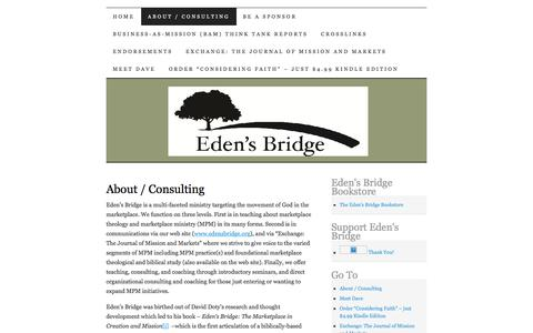 Screenshot of About Page edensbridge.org - About / Consulting | Eden's Bridge - captured July 11, 2016