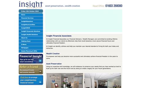 Screenshot of Home Page insightifa.com - Investing Advice Financial Advisers Norwich, Harlow, Kent, Sevenoaks, Wimbledon - captured Oct. 12, 2018