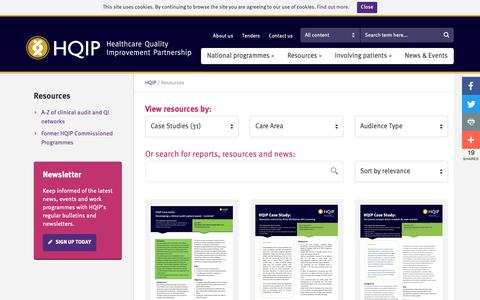 Screenshot of Case Studies Page hqip.org.uk - Resources – HQIP - captured Sept. 27, 2018