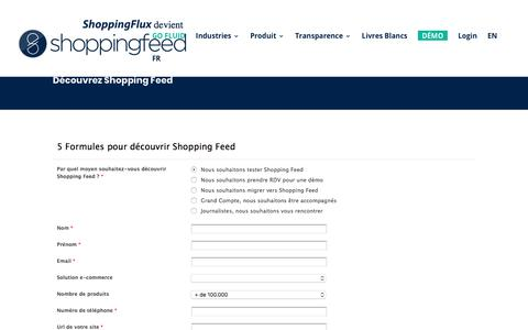Screenshot of Signup Page shopping-flux.com - Formulaire de contact | Shopping Flux - captured Sept. 22, 2018