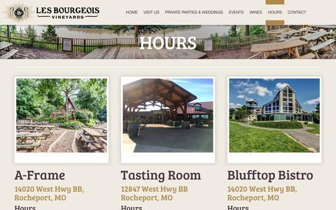 Screenshot of Hours Page missouriwine.com - Hours | Les Bourgeois Vineyards - captured Nov. 6, 2016