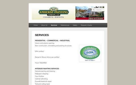 Screenshot of Services Page amherstpaint.com - SERVICES | Amherst Painting Company, LLC-painting contractor Amherst NH - captured Nov. 20, 2016