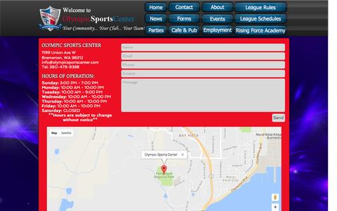 Screenshot of Contact Page olympicsportscenter.com - Olympic Sports Center | CONTACT - captured Aug. 17, 2016