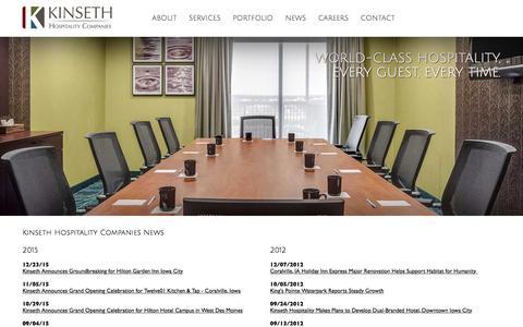 Screenshot of Press Page kinseth.com - Kinseth Hospitality Companies News - captured Feb. 12, 2016