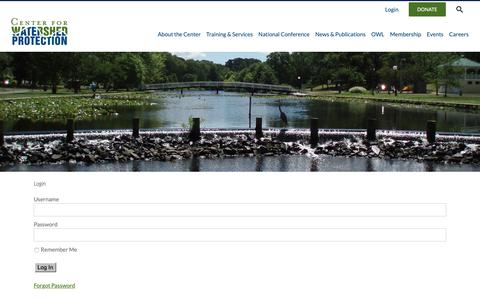 Screenshot of Login Page cwp.org - Login to CWPA - Center for Watershed Protection - captured Sept. 27, 2018