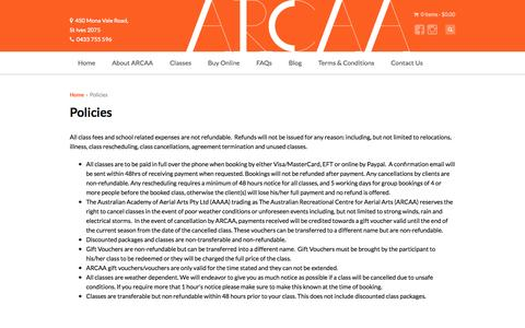 Screenshot of Terms Page flyingtrapeze.net.au - ARCAA Flying Trapeze, Circus and Aerial Classes Policies | ARCAA Flying Trapeze - captured Nov. 4, 2014