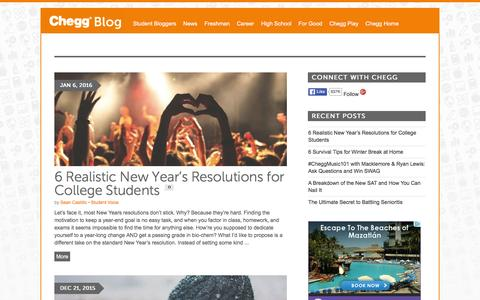 Screenshot of Blog chegg.com - College Topics for Students by Students | Chegg Blog - captured March 19, 2016
