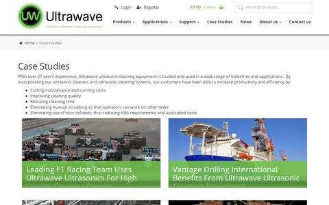 Screenshot of Case Studies Page ultrawave.co.uk - Ultrasonic Cleaning Case Studies and Use Cases - Ultrawave - captured Oct. 18, 2018