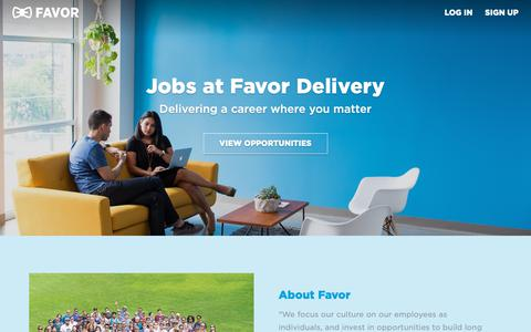 Screenshot of Jobs Page favordelivery.com - Careers - captured Nov. 8, 2018