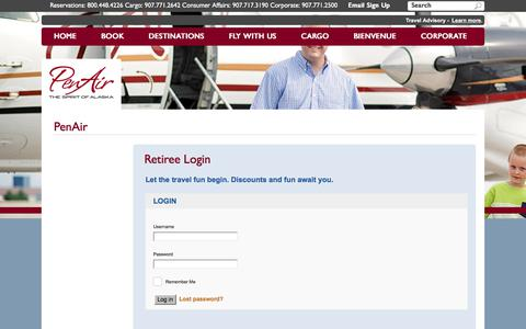 Screenshot of Login Page penair.com - Retiree | PenAir - captured July 16, 2018