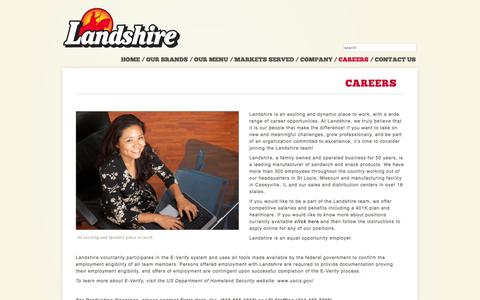 Screenshot of Jobs Page landshire.com - Landshire - Careers - captured Oct. 1, 2014