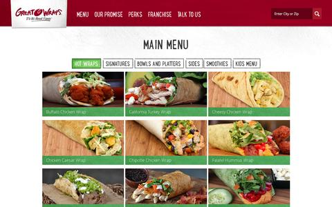 Screenshot of Menu Page greatwraps.com - The Menu - Great Wraps - captured Sept. 30, 2014