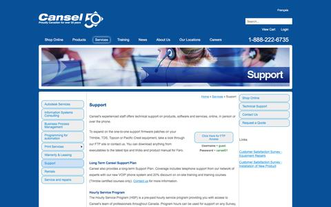 Screenshot of Support Page cansel.ca - Technical Support For Survey & Mapping Equipment - Canada - captured July 11, 2016