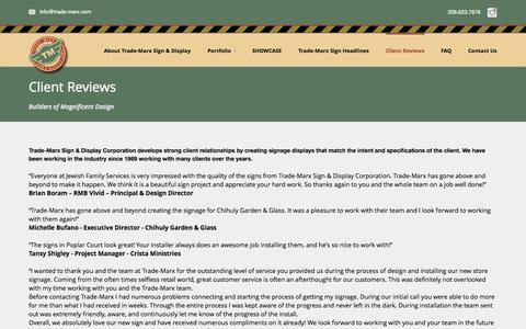 Screenshot of Testimonials Page trade-marx.com - Sign Reviews & Testimonials - captured Oct. 7, 2014