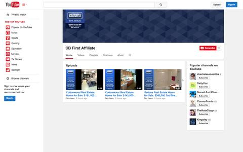 Screenshot of YouTube Page youtube.com - CB First Affiliate  - YouTube - captured Oct. 22, 2014