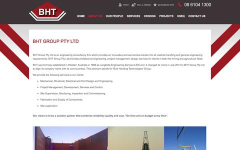 Screenshot of About Page bhtgroup.net.au - About BHT Group Pty Ltd - captured Dec. 28, 2015