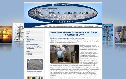 Screenshot of Press Page coloradokvar.com - Electrical Energy Conservation Colorado Kvar-Kvar Press - captured Sept. 30, 2014