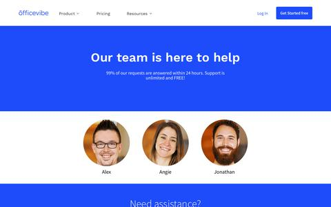 Screenshot of Support Page officevibe.com - Help & Support | Officevibe - captured Sept. 20, 2019