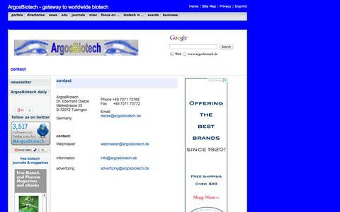 Screenshot of Contact Page argosbiotech.de - ArgosBiotech Contact - captured Sept. 30, 2014