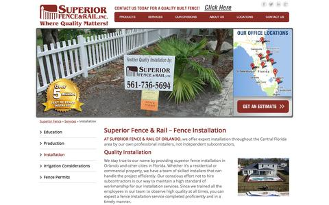 Screenshot of Services Page superiorfenceandrail.com - Quality Fence Installation in Orlando | Superior Fence & Rail of Orlando - captured Oct. 30, 2017
