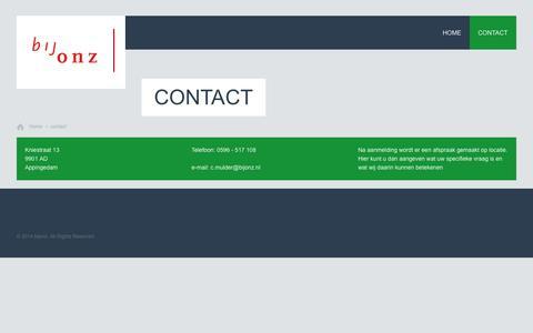 Screenshot of Contact Page bijonz.nl - contact | bijonz - captured Oct. 5, 2014