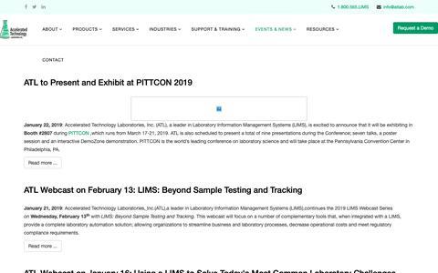 Screenshot of Press Page atlab.com - News - captured Feb. 14, 2019
