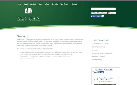 Screenshot of Services Page yushanventures.com - Services - Yushan Ventures - captured Oct. 7, 2014