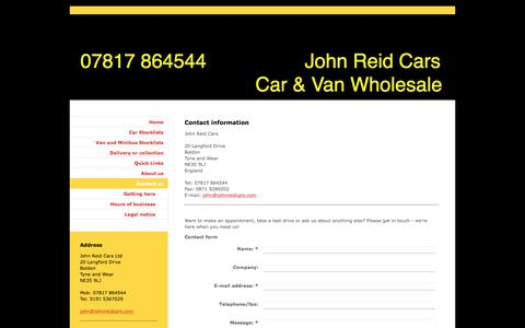 Screenshot of Contact Page johnreidcars.com - Contact John Reid Cars - captured June 8, 2017