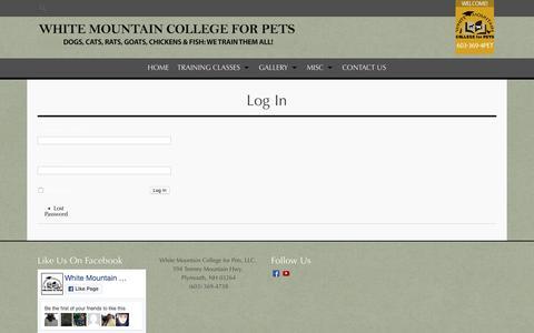 Screenshot of Login Page collegeforpets.com - Log In - - captured Dec. 3, 2016