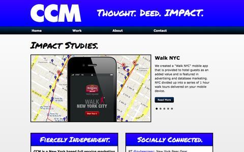 Screenshot of Home Page ccmthinkimpact.com - CCM - Thought. Deed. IMPACT. | New York City Full Service Marketing Agency - captured Oct. 1, 2014