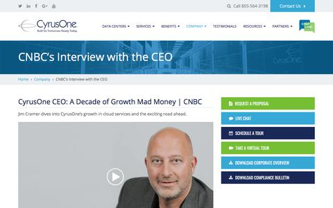 Screenshot of cyrusone.com - CNBC's Interview with the CEO - CyrusOne - captured Aug. 11, 2017