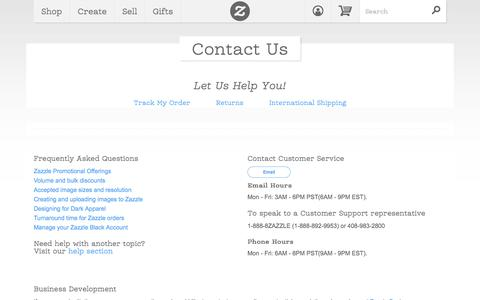 Screenshot of Contact Page zazzle.com - Contact Us - captured Oct. 10, 2014