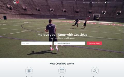 Screenshot of Home Page coachup.com - Private Coaches in Basketball, Football, Soccer, and More | CoachUp - captured Dec. 2, 2015