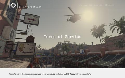 Screenshot of Terms Page ioi.dk - Terms of Service - IO Interactive - captured Oct. 12, 2018