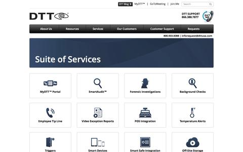 Screenshot of Services Page dttusa.com - Services - captured Feb. 8, 2016