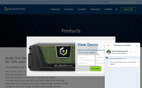 Screenshot of Products Page cloudian.com - S3-compatible Object Storage Systems   Cloudian - captured June 14, 2019