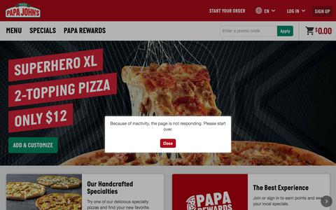 Screenshot of Home Page Signup Page papajohns.com - Papa John's Pizza Delivery & Carryout – Best Deals on Pizza, Sides & More - captured June 27, 2019