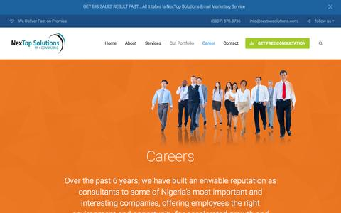 Screenshot of Jobs Page nextopsolutions.com - Careers | NexTop Solutions - captured Feb. 14, 2016